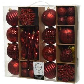 Set van 50 Onbreekbare Kerstballen Rood Mix