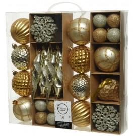 Set van 50 Onbreekbare Kerstballen Goud Champagne Mix