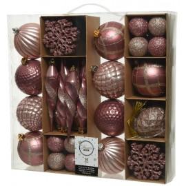 Set van 50 Onbreekbare Kerstballen Roze Mix