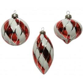 Set van 3 Kerstballen Rood Wit