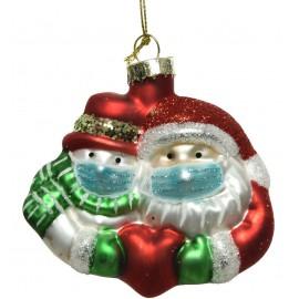 Kerstbal Kerstman en Sneeuwpop met Mondkapje