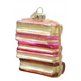 Kerstbal Stapel Boeken Roze
