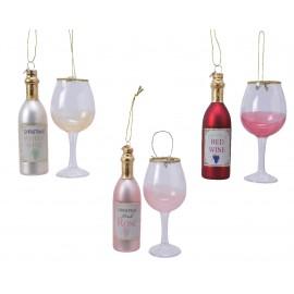 Set van 2 Kerstballen Fles Wijn met Glas