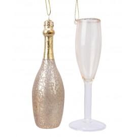 Set van 2 Kerstballen Fles Champagne met Glas