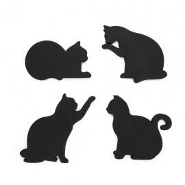 Onderzetters Zwarte Kat Magnetisch - Set van 4