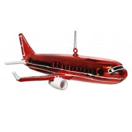 Kerstbal Passagiersvliegtuig Rood