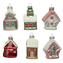 Set van 6 Huisjes Kerstballen