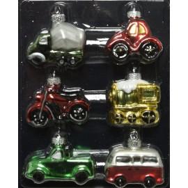 Mini Set van 6 Kerstballen Voertuigen