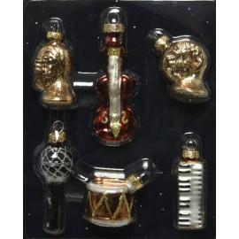 Set van 6 Mini Kerstballen Muziekinstrumenten
