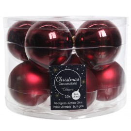 Set van 10 Kerstballen 6 CM Ossenbloed