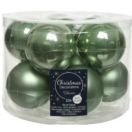 Set van 10 Kerstballen 6 CM Salie Groen