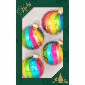Set van 4 Regenboog Kerstballen Swirl