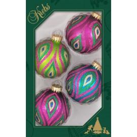 Set van 4 Kerstballen Pauw