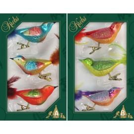 Set van 3 Bont Gekleurde Vogels op Clip