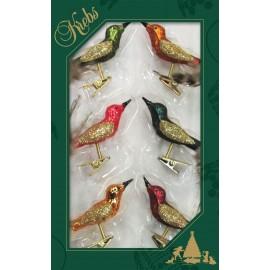 Set van 6 Mini Vogels op Clip