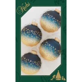 Set van 4 Kerstballen Midnight Haze Blauw Goud