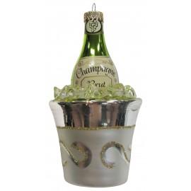 Kerstbal Champagne Fles in IJsemmer