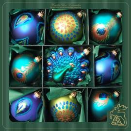 Set van 9 Pauwen Kerstballen