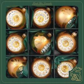 Set van 9 Retro Reflector Kerstballen Goud