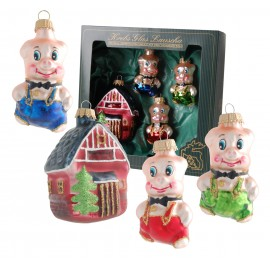 Set van 4 Kerstballen 3 Biggetjes en een Huisje