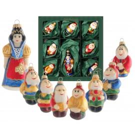 Set van 8 Kerstballen Sneeuwwitje en de 7 Dwergen