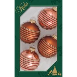 Set van 4 Kerstballen Bruin Goud met Streep
