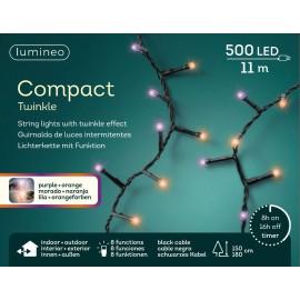 Kerstboomlampjes 11 Meter 500 Led Twinkle Effect Paars-oranje