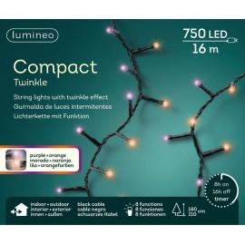 Kerstboomlampjes 16 Meter 750 Led Twinkle Effect Paars-oranje