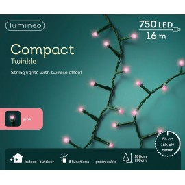 Kerstboomlampjes 16 Meter 750 Led Twinkle Effect Roze