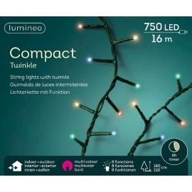 Kerstboomlampjes 16 Meter 750 Led Twinkle Effect Multicolor