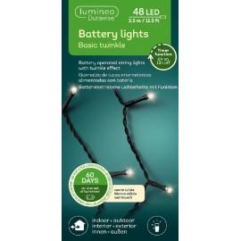 Kerstboomlampjes op Batterijen 3,5 Meter 48 Led Twinkle Effect Warm Wit