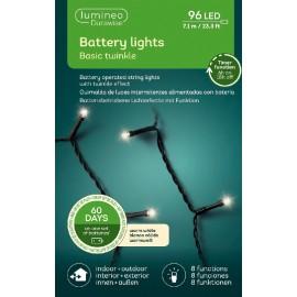 Kerstboomlampjes op Batterijen 7,1 Meter 96 Led Twinkle Effect Warm Wit