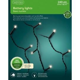 Kerstboomlampjes op Batterijen 17.9 Meter 240 Led Twinkle Effect Warm Wit
