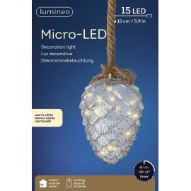 Hanglamp 15 Lichts Micro Led Dennenappel Ø 15cm Warm Wit