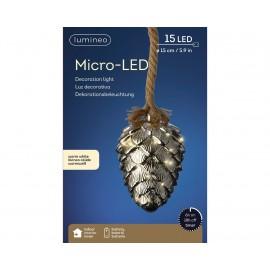 Hanglamp Grijs 15 Lichts Micro Led Dennenappel Ø 15cm Warm Wit