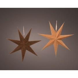 Papieren Kerstster Velvet Donkerbruin-Lichtbruin incl Snoer en Fitting
