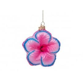 Kerstbal Bloem Roze met Blauwe Details