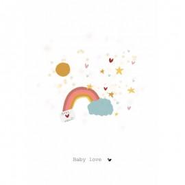 Dubbele kaart Baby Love - Regenboog