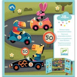 Djeco Herplakbare stickers Auto's