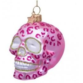 Kerstbal Skull mat roze met Luipaard Print
