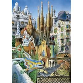 Puzzel Collage miniatuur Gaudi 1000st