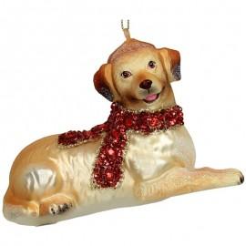 Kerstbal Hond met rode sjaal