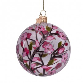 Kerstbal Transparant met Roze bloemen