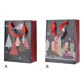 Cadeautas Papier Glitterstad-Kerstbomen