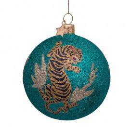 Kerstbal Turkoois met Glitter en Tijger Print