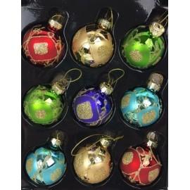 Set van 9 Retro Kerstballen  Ø 4cm