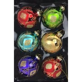 Set van 6 Retro Kerstballen Ø6cm