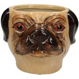 Bloempot Hond bruin