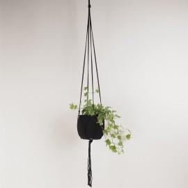 Black Plant hanger 100% cotton L120 cm.