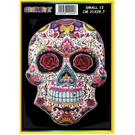 Vilten Kleurplaat Skull met Viltstiften